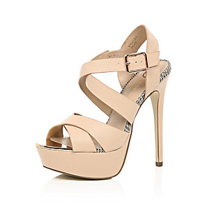 Light pink strappy heeled platforms