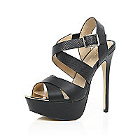 Black strappy heeled platforms