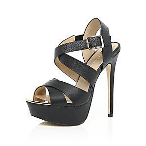 Black strappy heeled platforms