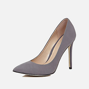 Dark grey leather court heels