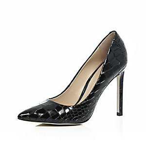 Black leather croc print court square heels