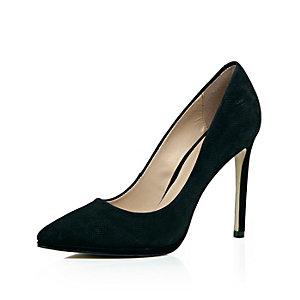 Black perforated nubuck leather court heels