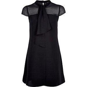 Black pussybow swing dress