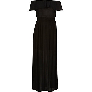 Black cheesecloth bardot maxi dress