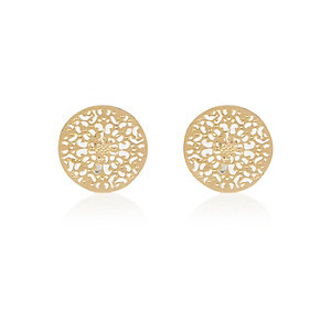 Gold tone filigree disc stud earrings