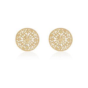 Gold tone filigree disc stud earrings