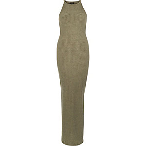 Green ribbed bodycon maxi dress