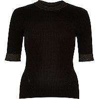 Black ribbed knitted metallic trim top