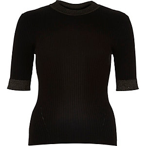 Black ribbed knitted metallic trim top