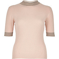 Pink ribbed knitted metallic trim top