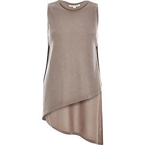 Brown metallic asymmetric side split knit