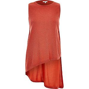 Bright orange lurex side split knitted top