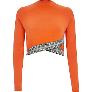 Orange knitted pattern hem crop top