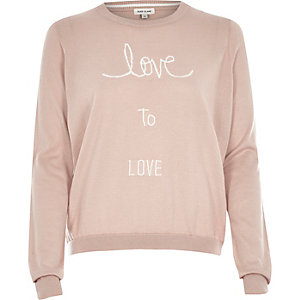 Pink knitted love intarsia jumper