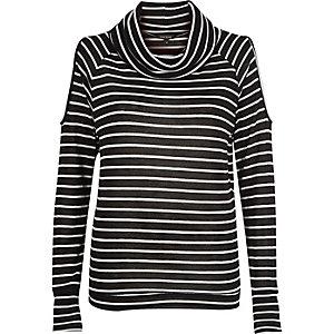Black stripe cold shoulder cowl neck jumper