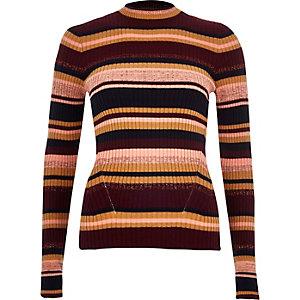 Purple knitted stripe metallic top