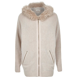 Beige zip through cardigan