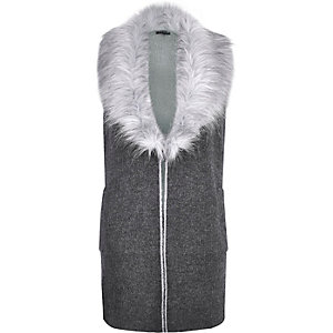 Dark grey knitted faux-fur gilet