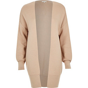 Light beige slouchy textured cardigan