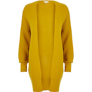 Yellow slouchy textured cardigan