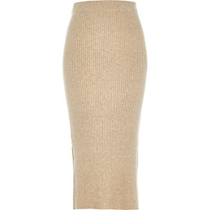 Beige ribbed midi pencil skirt