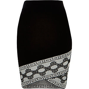 Black knitted patterned hem pencil skirt