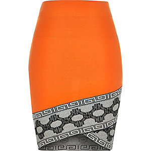 Orange knitted pattern hem pencil skirt