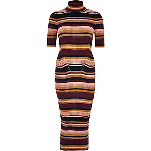 Purple knitted stripe metallic dress