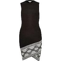 Black knitted bodycon pattern hem wrap dress