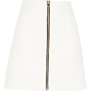 White tweed zip front A-line skirt