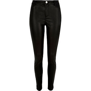 Black skinny leather-look trousers