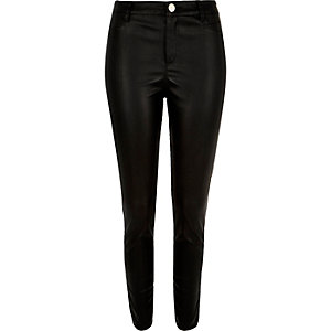 Black skinny zip side leather-look trousers