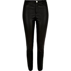 Black skinny zip side leather-look trousers