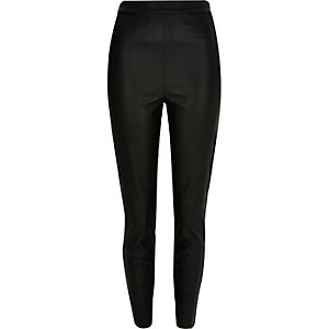 Black leather-look trousers