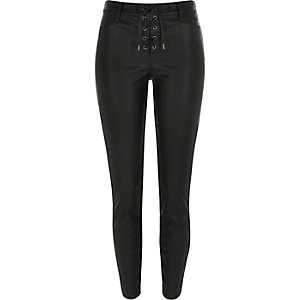 Black lace-up leather-look trousers
