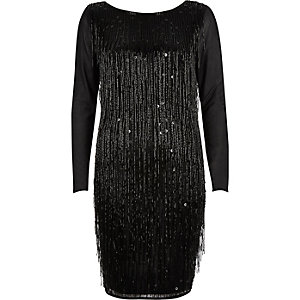 Black beaded tassel bodycon dress