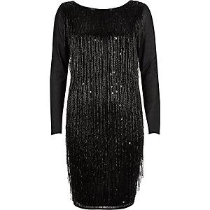Black beaded tassel bodycon dress