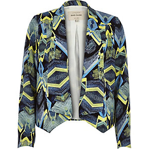 Navy geometric print short jacket