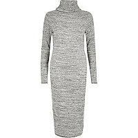 Grey marl roll neck bodycon dress