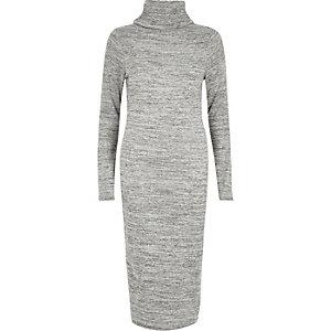 Grey marl roll neck bodycon dress