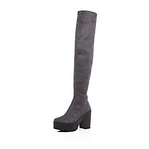 Dark grey platform over the knee boots