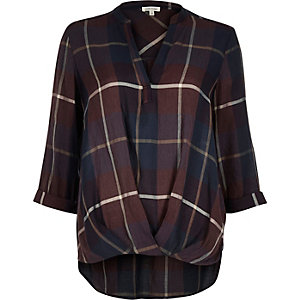 Red check wrap front V-neck blouse