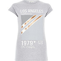 Grey Los Angeles 1979 print fitted t-shirt