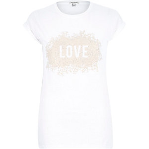 White love caviar print fitted t-shirt