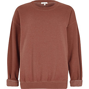 Rust brown soft jersey slouchy sweater