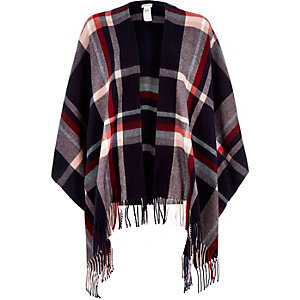 Navy check tasselled oversized cape