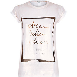 White dream foil print fitted t-shirt