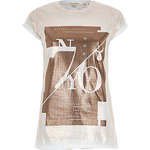 White minimal concept foil print t-shirt