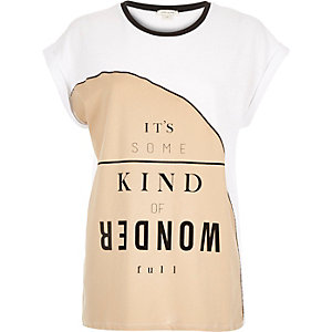 Brown colour block slogan fitted t-shirt