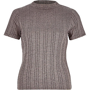Grey ribbed turtle neck top